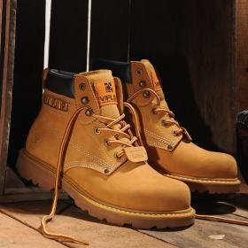 春季马丁靴男真皮男靴黄靴工装军靴韩版短靴沙漠靴高帮男鞋大黄靴 头层牛皮